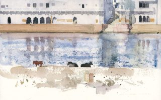 «Πουσκάρ» (2010) είναι ο τίτλος ενός από τα έργα που ανήκουν στην ενότητα του Δ. Κατσιγιάννη με τις ακουαρέλες από την Ινδία.