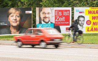 Η «Επιτυχημένη Γερμανία» της CDU αναμετριέται με την «Ωρα για περισσότερη Δικαιοσύνη» του SPD και με το «Ας μην περιμένουμε άλλο» του FDP.