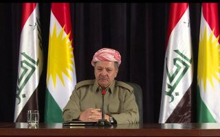 A still image taken from a video shows Iraqi Kurdish president Masoud Barzani speaking a during news conference in Erbil, Iraq September 24, 2017. REUTERS/via Reuters TV