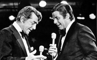 Ένα από τα κλασικότερα δίδυμα της αμερικανικής κωμωδίας επανενώνεται μετά από 20 χρόνια απόστασης, όταν ο Ντίν Μάρτιν πραγματοποιεί εμφάνιση έκπληξη στον ετήσιο τηλεμαραθώνιο που πραγματοποιεί ο Τζέρι Λιούις για την αντιμετώπιση της μυικής δυστροφίας, στο Λας Βέγκας, το 1976. (AP Photo)