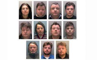 Φωτογραφία της Αστυνομίας του Λινκολνσάιρ αναδημοσιέυει στο ρεπορτάζ της η εφημερίδα INDEPENDENT με τους 11 κατηγορούμενους που έλαβαν ποινή φυλάκισης συνολικά 79 ετών.