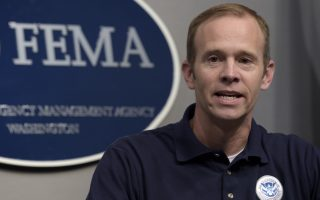 Federal Emergency Management Agency Administrator Brock Long speaks during a briefing on Hurricane Irma at FEMA headquarters in Washington, Friday, Sept. 8, 2017. (AP Photo/Susan Walsh)