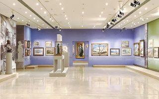 Γενική άποψη της έκθεσης «Ομάδα Τέχνη. 100 χρόνια». Από την Εθνική Πινακοθήκη στο Βυζαντινό Μουσείο.