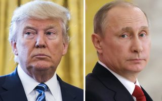 epa05893867 (FILE) - A combo picture made reissued on 07 April 2017 shows US President Donald J. Trump (L) at the White House in Washington, DC, USA, 09 February 2017, and Russian President Vladimir Putin (R) in St.Petersburg, Russia, 03 April 2017. Media reports state that Russian President Vladimir Putin claims the US missiles strikes against Syria on 07 April 2017, broke international law and seriously hurt US-Russia relations. The US launched at least 50 US missile strikes against al-Shayrat military airfield near Homs, Syria, in response to the Syrian military's alleged use of chemical weapons in an airstrike in a rebel held area in Idlib province.  EPA/JIM LO SCALZO/SPUTNIK POOL MANDATORY CREDIT