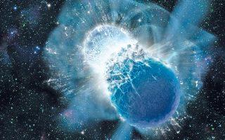 Πορεία συγχώνευσης δύο άστρων νετρονίων. Η σύγκρουσή τους θα προκαλέσει τη δημιουργία μιας μαύρης τρύπας, και την εκπομπή τεραστίων ποσοτήτων βαρυτικών κυμάτων και εκλάμψεων ακτίνων Γάμμα.