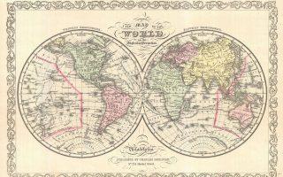 Παγκόσμιος χάρτης του 1856. Σύμφωνα με τον Ρόμπερτ Κάπλαν, οι θεωρητικοί της γεωστρατηγικής του 19ου αιώνα έβλεπαν με μεγαλύτερο ενδιαφέρον τη σημασία της γεωγραφίας στην παγκόσμια πολιτική. Θ