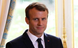 Ο Γάλλος πρόεδρος Εμανουέλ Μακρόν, χθες, στο Μέγαρο των Ηλυσίων.