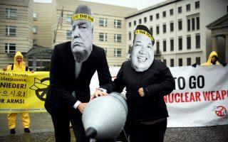 Πρόσφατη διαμαρτυρία της ICAN κατά της ρητορικής κλιμάκωσης των Τραμπ και Κιμ έξω από την αμερικανική πρεσβεία στο Βερολίνο.