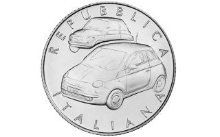 Raffigurazione, di profilo, del primo modello Fiat 500 nato nel 1957 e la versione riproposta nel 2007 con soluzioni stilistiche simili all'omonio antenato.