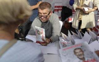 Czech billionaire and leader of the ANO 2011 political movement Andrej Babis meets with his supporters during a campaign rally in Prague, Czech Republic, Thursday, Sept. 28, 2017.  Czech Republic is holding general elections from Oct. 20 to 21, 2017.  (AP Photo/Petr David Josek)