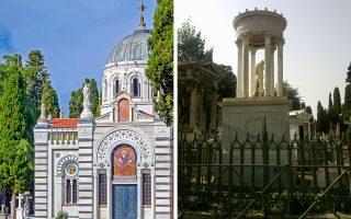 Ο κοιμητηριακός ναός στο Σισλί που μόλις αποκαταστάθηκε (αριστερά) και ένα από τα πιο ωραία ταφικά μνημεία στο Σισλί, της οικογενείας Νεγρεπόντη (δεξιά).