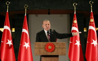 Turkish President Tayyip Erdogan makes a speech during a fast-breaking iftar dinner at the Presidential Palace in Ankara, Turkey, June 20, 2017. Picture taken June 20, 2017. Yasin Bulbul/Presidential Palace/Handout via REUTERS ATTENTION EDITORS - THIS PICTURE WAS PROVIDED BY A THIRD PARTY. NO RESALES. NO ARCHIVE.