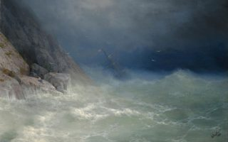 Λεπτομέρεια από τον πίνακα «Ο επιζήσας» του σπουδαίου θαλασσογράφου Ιβάν Αϊβαζόφσκι. Αλληγορικά, στους βράχους θα μπορούσε να βρίσκεται ο Μπάρτον, διασωθείς από το «ναυάγιο» της ζωής του.