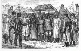 Ρώσοι μηδενιστές στον δρόμο για τη Σιβηρία (σκίτσο του M. Baruch).