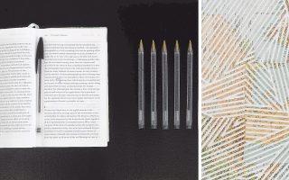 Λεπτομέρειες από τα έργα του Α. Ντόνεφ «Σκονάκι στην Ιστορία της Τέχνης» (αριστερά) και από τα κολάζ με τους παλαιούς άτλαντες.