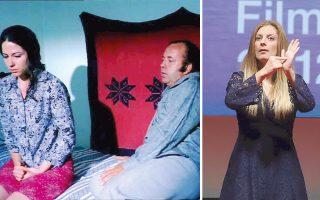 Αριστερα, «Το προξενιό της Αννας» του Παντελή Βούλγαρη θα προβληθεί το Σάββατο 11/11, στις 13.00, στο Ολύμπιον. Δεξιά, η ηθοποιός Μαρία Χριστοφορίδου κατά τη διάρκεια της παρουσίασης.