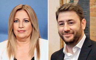 Φώφη Γεννηματά και Νίκος Ανδρουλάκης διεκδικούν αύριο την προεδρία του νέου φορέα της Κεντροαριστεράς.