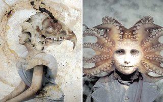 Αριστερά, «Erinya». Τα κολάζ του Βίκτωρος Κοέν σχολιάζουν ποικιλοτρόπως  τη σύγχρονη πραγματικότητα παγκοσμίως. Δεξιά, «Medusa». Ο καλλιτέχνης αναθεωρεί τον τρόπο που ένας Ελληνας αντιλαμβάνεται τα μυθικά πρόσωπα.