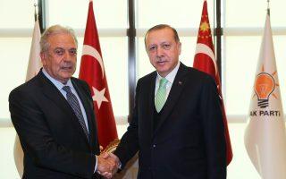 Ο Δ. Αβραμόπουλος συναντήθηκε χθες με τον κ. Ερντογάν στην Αγκυρα.