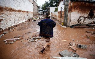 Εικόνες βιβλικής καταστροφής στην περιοχή της Μάνδρας Αττικής. ©Στέλιος Μισίνας/Eurokinissi
