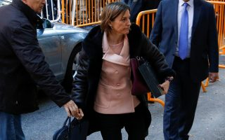 Carme Forcadell, Speaker of the Catalan parliament, arrives to Spain's Supreme Court to testify on charges of rebellion, sedition and misuse of public funds for defying the central government by holding an independence referendum and proclaiming independence, in Madrid, Spain, November 9, 2017. REUTERS/Javier Barbancho