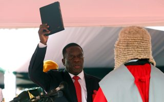 Emmerson Mnangagwa is sworn in as Zimbabwe's president in Harare, Zimbabwe, November 24, 2017. REUTERS/Mike Hutchings