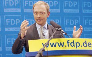 Στο στόχαστρο των Πρασίνων ήταν οι δηλώσεις του επικεφαλής του FDP Κρίστιαν Λίντνερ (φωτ.), σύμφωνα με τις οποίες ο κ. Σόιμπλε ως υπουργός Οικονομικών δεν υπήρξε αρκετά σκληρός με την Ελλάδα.