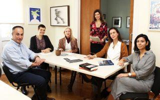 Η ομάδα του Fulbright. Από αριστερά, Νίκος Τουρίδης, Χριστίνα Παρασκευοπούλου, Ελς Χάναπε, Αρτεμις Ζενέτου, Αντζι Φωτάκη και Κωνσταντίνα Κουτσουρούμπα.