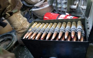 US Military Police use radioactive DU  (Depleted Uranium) bullets in heavy machine while patrolling on Thursday, 11 September 2003, in Tikrit Iraq.  Depleted Uranium is responsible for Gulf War Syndrome  and high cancer rates in parts of Iraq according to many helath experts. Depleted uranium is a highly dense radioactive  metal that is the byproduct of the process during which fissionable uranium used to manufacture nuclear bombs and reactor fuel is separated from raw  uranium. EPA PHOTO/EPA/JAMAL  A.  WILSON//