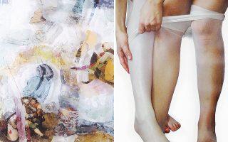 Αριστερά, Χρύσα Ρωμανού, «Pictures» (λεπτ.), 1982. Από την έκθεση στην CAN. Δεξιά, Alix Marie, «Tight», (λεπτ.), 2017. Η νεότερη της «παρέας».