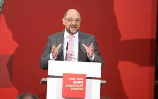 Ο ηγέτης των Σοσιαλδημοκρατών Μ. Σουλτς σε πρόσφατη ομιλία του στην έδρα του SPD στο Βερολίνο.