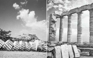 Αριστερά, η Ακρόπολη όπως φαινόταν από τον Ναό του Ολυμπίου Διός. Δεξιά, ο Ναός του Ποσειδώνα στο Σούνιο.