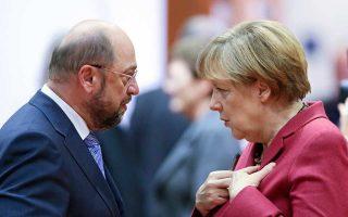 Σε περίπου δέκα μέρες, Μάρτιν Σουλτς και Αγκελα Μέρκελ θα ξεκινήσουν διαβουλεύσεις για ανανέωση του μεγάλου συνασπισμού CDU/CSU και SPD.
