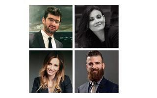 Οι άνθρωποι του «Lawcals»:  ο Κωστής Κριμίζης, η Γιονίντα Κούκιο (επάνω), η Χριστίνα Χελιώτη και ο Θανάσης Παπαδάς.