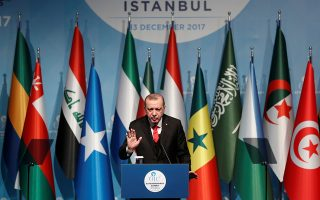 Turkish President Tayyip Erdogan speaks during a news conference following the extraordinary meeting of the Organisation of Islamic Cooperation (OIC) in Istanbul, Turkey, December 13, 2017. REUTERS/Osman Orsal