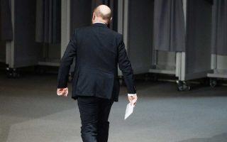Ο ηγέτης του SPD, Μάρτιν Σουλτς, συμμετείχε χθες σε τελετή μνήμης για τον πρώην πρόεδρο της Βουλής, Φίλιπ Γένινγκερ, στο Βερολίνο.