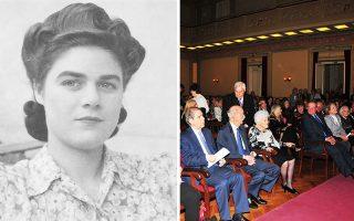 Η Σύλβια Ιωαννίδου τότε (τέλη δεκαετίας '40) και τώρα, πλαισιωμένη από την οικογένειά της και υψηλούς προσκεκλημένους, στην εκδήλωση της Τετάρτης.