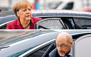 Με την υπόσχεση να έχουν καταλήξει σε συμφωνία εντός επτά ημερών, η Αγκελα Μέρκελ και ο Μάρτιν Σουλτς εγκαινίασαν χθες την τελική φάση των διαπραγματεύσεων για τον σχηματισμό κυβέρνησης στη Γερμανία. Πολιτικοί αναλυτές εκφράζουν τη βεβαιότητα ότι θα υπάρξει συμφωνία, με μοναδικό ερώτημα τη στάση της βάσης του Σοσιαλδημοκρατικού Κόμματος, που θα κληθεί να την επικυρώσει διά επιστολικής ψήφου.