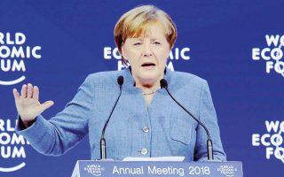 Η Αγκελα Μέρκελ, κατά τη χθεσινή ομιλία της στο Παγκόσμιο Οικονομικό Φόρουμ, διατύπωσε ανοικτά τις αμφιβολίες της για το αν ο κόσμος διδάχτηκε κάτι από τους δύο παγκοσμίους πολέμους και δήλωσε ότι «είναι επιτακτική η ανάγκη να συνεργαστούμε, διότι ο προστατευτισμός δεν αποτελεί απάντηση στα προβλήματα».