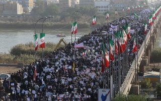 Φιλοκυβερνητικές πορείες οργανώθηκαν σε αρκετές πόλεις του Ιράν ως απάντηση στις κινητοποιήσεις.