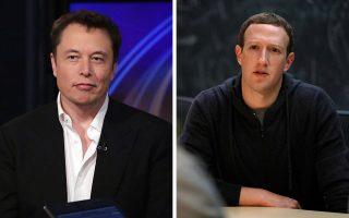 Ο Ελον Μασκ (αριστερά), ιδρυτής της SpaceX, κρούει τον κώδωνα κινδύνου για την ανεξέλεγκτη εξέλιξη της τεχνητής νοημοσύνης - Ο Μαρκ Ζούκερμπεργκ (δεξιά), δημιουργός του Facebook, υποστηρίζει ότι η τεχνητή νοημοσύνη θα κάνει πιο εύκολη τη ζωή μας.