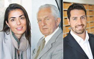 Από αριστερά: Η Κωστάντζα Σμπώκου-Κωνσταντακοπούλου, διευθύνουσα σύμβουλος της Sbokos Hotel Group, πρόεδρος Δ.Σ. της Endeavor Greece. Ο Παναγής Βουρλούμης, πρώην πρόεδρος και διευθύνων σύμβουλος του ΟΤΕ. Ο Αιμίλιος Χαλαμανδάρης, διευθύνων σύμβουλος της Innoetics.