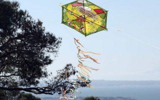 Χαρταετός ανεμίζει στον ουρανό της Θεσσαλονίκης στα πλαίσια του εορτασμού της Καθαράς Δευτέρας στο Κέδρινο λόφο (Σέιχ-Σου) στη Θεσσαλονίκη, Δευτέρα 15 Φεβρουαρίου 2010.  ΑΠΕ ΜΠΕ/PIXEL/ΜΠΑΡΜΠΑΡΟΥΣΗΣ ΣΩΤΗΡΗΣ