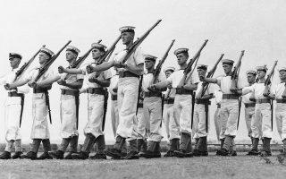 Εθελοντές του Βασιλικού Ναυτικού της Αυστραλίας λαμβάνουν την αρχική τους εκπαίδευση, στο πλαίσιο της συμβολής της Αυστραλίας στην πολεμική προσπάθεια της Βρετανικής Αυτοκρατορίας κατά του Άξονα, το 1941. (AP Photo)