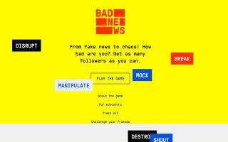 Στιγμιότυπο από την κεντρική σελίδα του διαδικτυακού παιχνιδιού το οποίο λειτουργεί ως «εμβόλιο» κατά του «ιού» των ψευδών ειδήσεων (fake news).