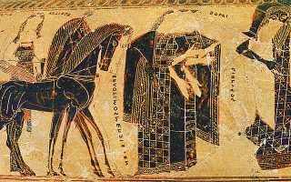 Ο γάμος του Πηλέα και της Θέτιδας. Λεπτομέρεια από την κύρια ζωφόρο του αγγείου Φρανσουά (570 π.Χ., Αρχαιολογικό Μουσείο Φλωρεντίας).