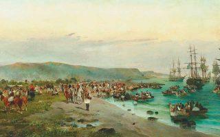 Κωνσταντίνος Βολανάκης, «Η αποβίβαση του Καραϊσκάκη στο Φάληρο», 1895.