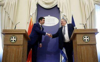 Ο υπουργός Εξωτερικών Νίκος Κοτζιάς φιλοδοξεί να παραδώσει στον ομόλογό του της ΠΓΔΜ Νίκολα Ντιμιτρόφ το σύμφωνο εντός δεκαημέρου. Μάλιστα, για συμβολικούς λόγους επιδιώκεται να μεταβεί στα Σκόπια αεροπορικώς, εφόσον έχει προηγηθεί η μετονομασία του αεροδρομίου από «Μέγας Αλέξανδρος» σε «Κίρο Γκλιγκόροφ».