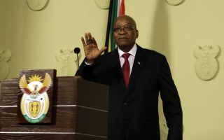 South African President Jacob Zuma addresses the nation and press at the government's Union Buildings in Pretoria, South Africa, Wednesday, Feb. 14, 2018. South African President Jacob Zuma says he has resigned