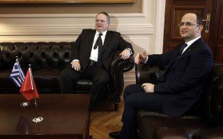 Στην Κρήτη και στην Κορυτσά έχουν ήδη συναντηθεί οι υπουργοί Εξωτερικών Νίκος Κοτζιάς και Ντμίτρι Μπουσάτι (η φωτ. από παλαιότερη συνάντηση).